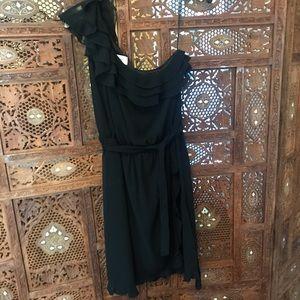 One Shoulder Ruffle Black Dress